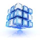 Illustration avec le cube composé bleu abstrait Photos libres de droits