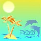 Illustration avec le palmtree et les dauphins Photos libres de droits
