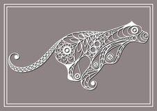 Illustration avec le puma de dentelle dans le style floral 3 Image libre de droits