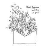 Illustration avec les coeurs, l'oiseau et les fleurs Image stock
