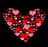 Illustration avec les coeurs rouges d'amour images libres de droits
