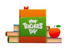 Illustration avec les livres et l'affiche heureuse de Day de professeur de pomme illustration stock