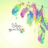 Illustration avec les plumes colorées Photos libres de droits