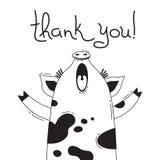 Illustration avec porcin joyeux qui indique - merci Pour la conception des avatars, des affiches et des cartes drôles Animal mign illustration stock