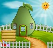 Avocado house in garden. Illustration of avocado house in garden Royalty Free Stock Photography