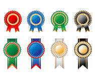 Rosettes ribbon set Royalty Free Stock Images