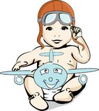 Illustration of a baby adventurer aviator Stock Photos