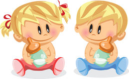 Illustration of baby boy and baby girl,vector Stock Photos
