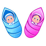 Illustration baby boy and girl Royalty Free Stock Photography