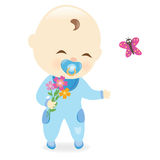 Baby boy holding flowers Stock Images