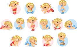 Illustration of baby boys and baby girls,vector Stock Image