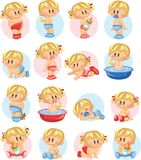 Illustration of baby boys and baby girls,vector Royalty Free Stock Photos