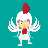 Illustration of baby in a chicken fancy dress costume  Royalty Free Stock Photos