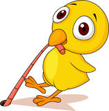 Baby chicken with worm cartoon Royalty Free Stock Image