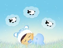 Baby counting sheeps in the night Royalty Free Stock Image