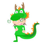 Illustration of baby in a dragon fancy dress costume  Royalty Free Stock Photo