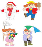 Illustration of baby girl in different season Royalty Free Stock Images