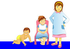 Illustration of baby growing to be child and girl Stock Photos