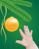 Illustration of a baby hand reaching out to a gold sparkling decoration hanging on a Christmas tree Stock Photo