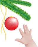 Illustration of a baby hand reaching out to a red sparkling decoration hanging from a Christmas tree Royalty Free Stock Image