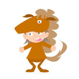 Illustration of baby in a horse fancy dress costume  Stock Images