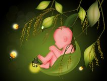 Baby on leaf and fireflies. Illustration of baby on leaf and fireflies Royalty Free Stock Photo