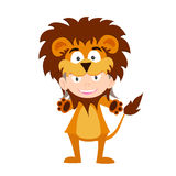 Illustration of baby in a lion fancy dress costume  on white background Stock Photo