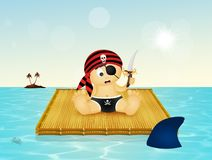 Baby pirate on floating raft. Illustration of baby pirate on floating raft Stock Photography