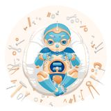 Baby boy robot lying on a pillow vector illustration