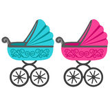 Illustration of a baby stroller. Baby carriage. A boy and a girl. Stroller for toddler icon. Vector illustration Royalty Free Stock Photos