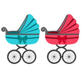 Illustration of a baby stroller. Baby carriage. A boy and a girl. Stroller for toddler icon. Vector illustration Royalty Free Stock Image