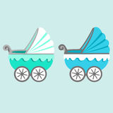 Illustration of a baby stroller. Baby carriage. The baby boy.Stroller for toddler icon Stock Image