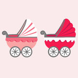 Illustration of a baby stroller. Retro baby stroller. Flat stroller icon. Stroller for girls Royalty Free Stock Photography