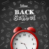 Back to school background with red alarm clock stock illustration