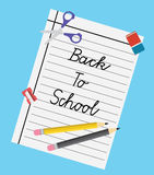 Illustration back to school - flat design. Illustration back to school - flat design - paper, pencils, rubber, scissors, sharpener Royalty Free Stock Photography