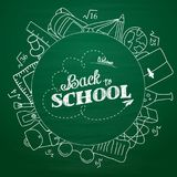Back to school lettering in doodle circle on green chalkboard background royalty free illustration