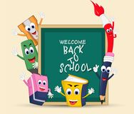 Back to School Title Words with Realistic School Items stock illustration