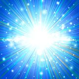 THE EXPLOSION OF A STAR ON A BLUE BACKGROUND, SHINE, SHINE Royalty Free Stock Image