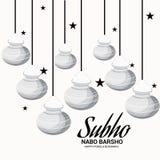 Bengali New Year Subho Nabo BarshoHappy Pohela Boishakh a mud pot fill with rasgulla. Illustration of a Background for Bengali New Year Subho Nabo BarshoHappy Stock Photo