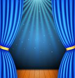 Background with a blue curtain and a spotlight. royalty free illustration