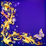 Background with butterflies and ornaments  Royalty Free Stock Images