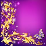 Background with butterflies and ornaments made of p. Illustration background with butterflies and ornaments made of precious stones Stock Photography