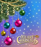 background christmas card with branches of Christma stock illustration