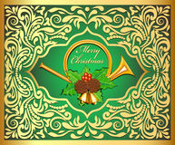 Illustration background Christmas card with horns, bells, leaves Stock Image