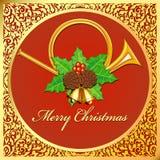 Illustration background Christmas card with horns, bells, leaves vector illustration