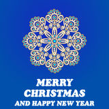 Illustration background Christmas card with snowflake brooch wit Royalty Free Stock Images
