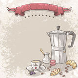 Illustration background with coffee, Turku, cup of coffee and croissants Royalty Free Stock Image