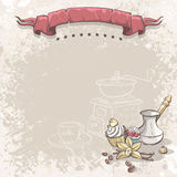 Illustration background with coffee, vanilla flower and cupcakes Stock Photos