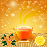 Background with flower tea and lemon Stock Photography
