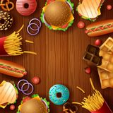 Background frame with fast food and dessert. Illustration of Background frame with fast food and dessert Stock Images